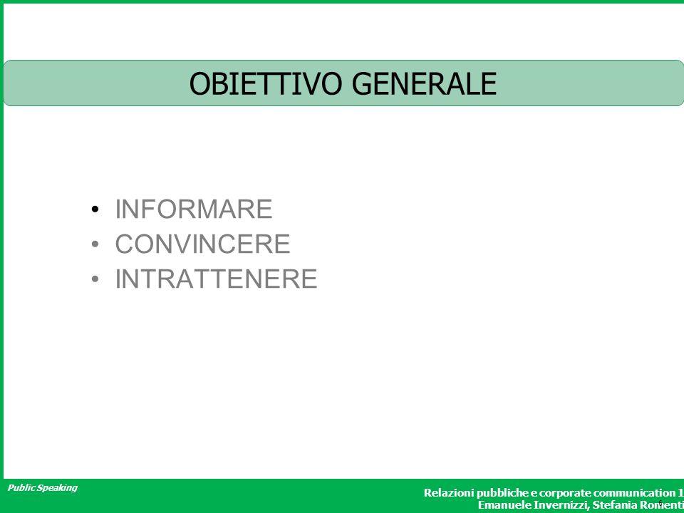 Public Speaking Relazioni pubbliche e corporate communication 1 Emanuele Invernizzi, Stefania Romenti OBIETTIVO GENERALE INFORMARE CONVINCERE INTRATTENERE 6