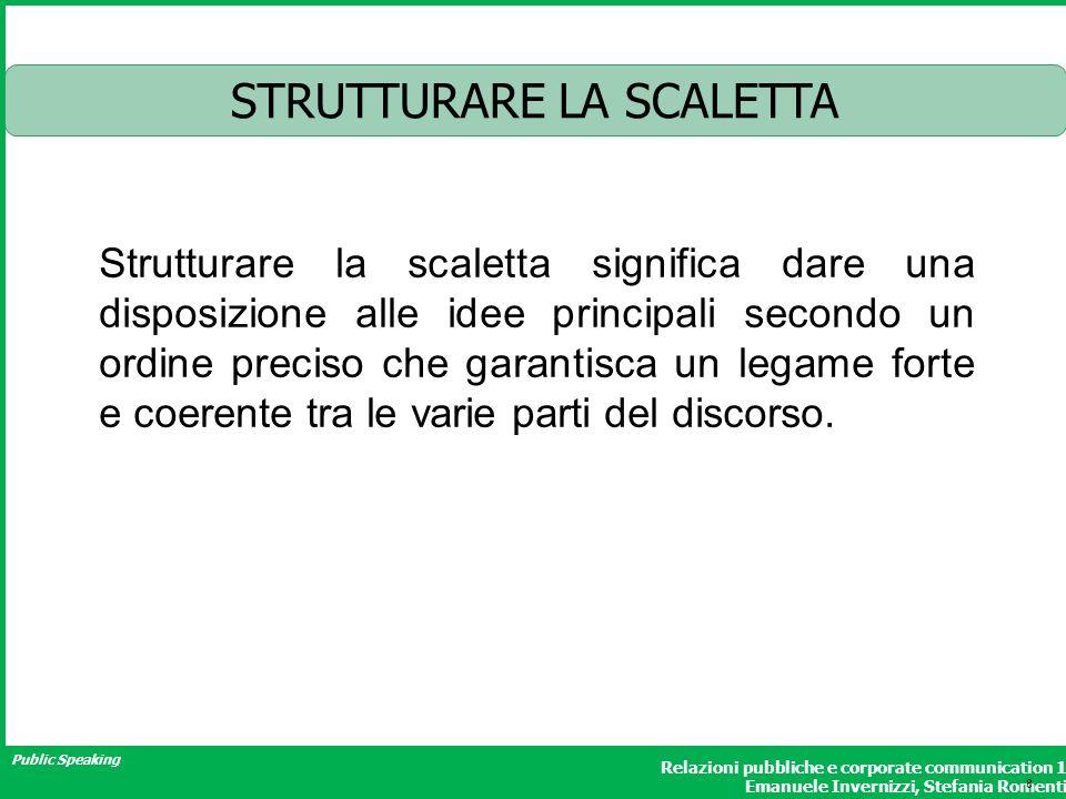 Public Speaking Relazioni pubbliche e corporate communication 1 Emanuele Invernizzi, Stefania Romenti STRUTTURARE LA SCALETTA Strutturare la scaletta