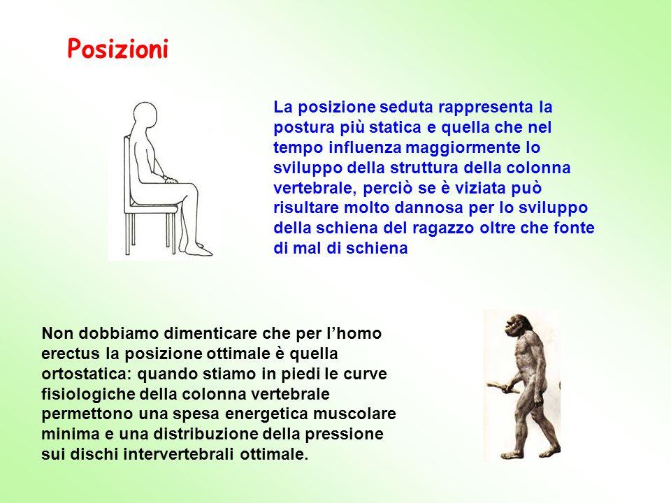 Non dobbiamo dimenticare che per lhomo erectus la posizione ottimale è quella ortostatica: quando stiamo in piedi le curve fisiologiche della colonna