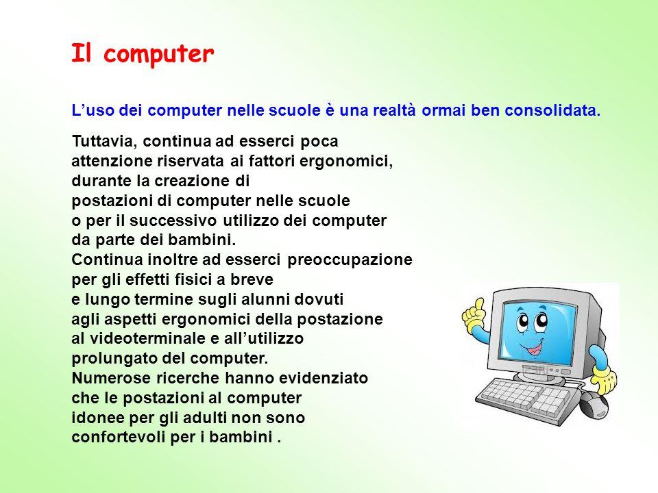 Luso dei computer nelle scuole è una realtà ormai ben consolidata. Tuttavia, continua ad esserci poca attenzione riservata ai fattori ergonomici, dura