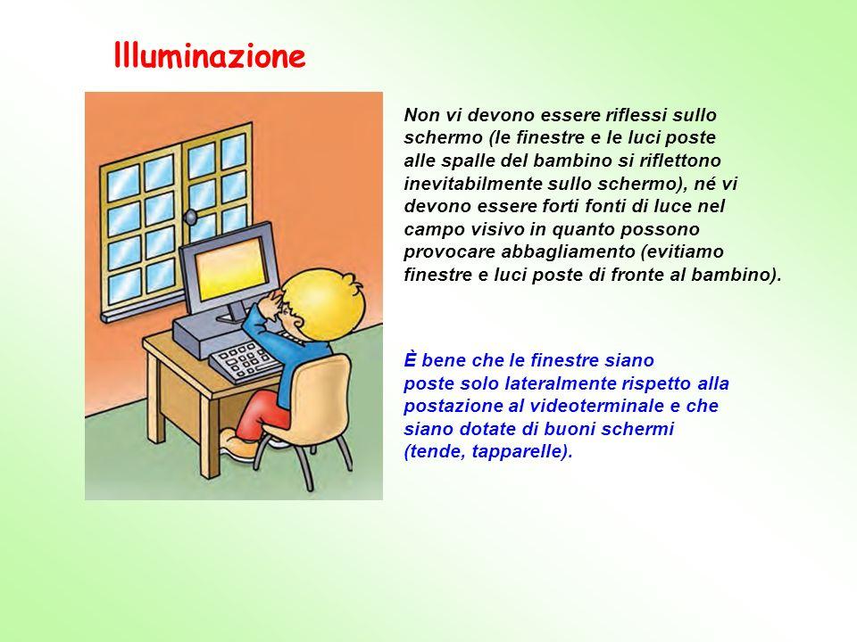 Non vi devono essere riflessi sullo schermo (le finestre e le luci poste alle spalle del bambino si riflettono inevitabilmente sullo schermo), né vi d