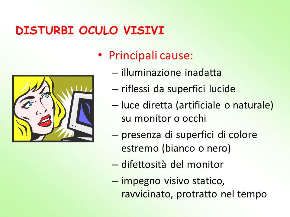DISTURBI OCULO VISIVI Principali cause: – illuminazione inadatta – riflessi da superfici lucide – luce diretta (artificiale o naturale) su monitor o o