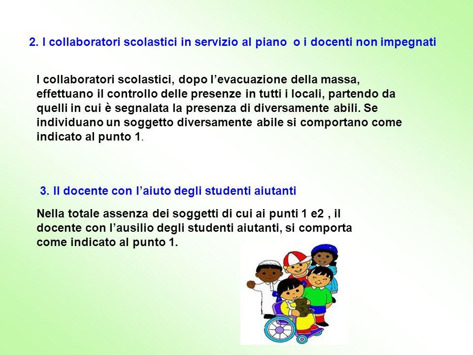 2. I collaboratori scolastici in servizio al piano o i docenti non impegnati I collaboratori scolastici, dopo levacuazione della massa, effettuano il