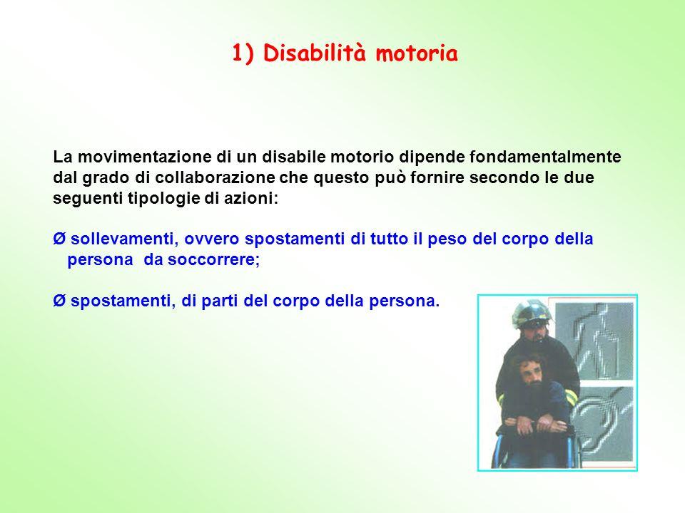La movimentazione di un disabile motorio dipende fondamentalmente dal grado di collaborazione che questo può fornire secondo le due seguenti tipologie