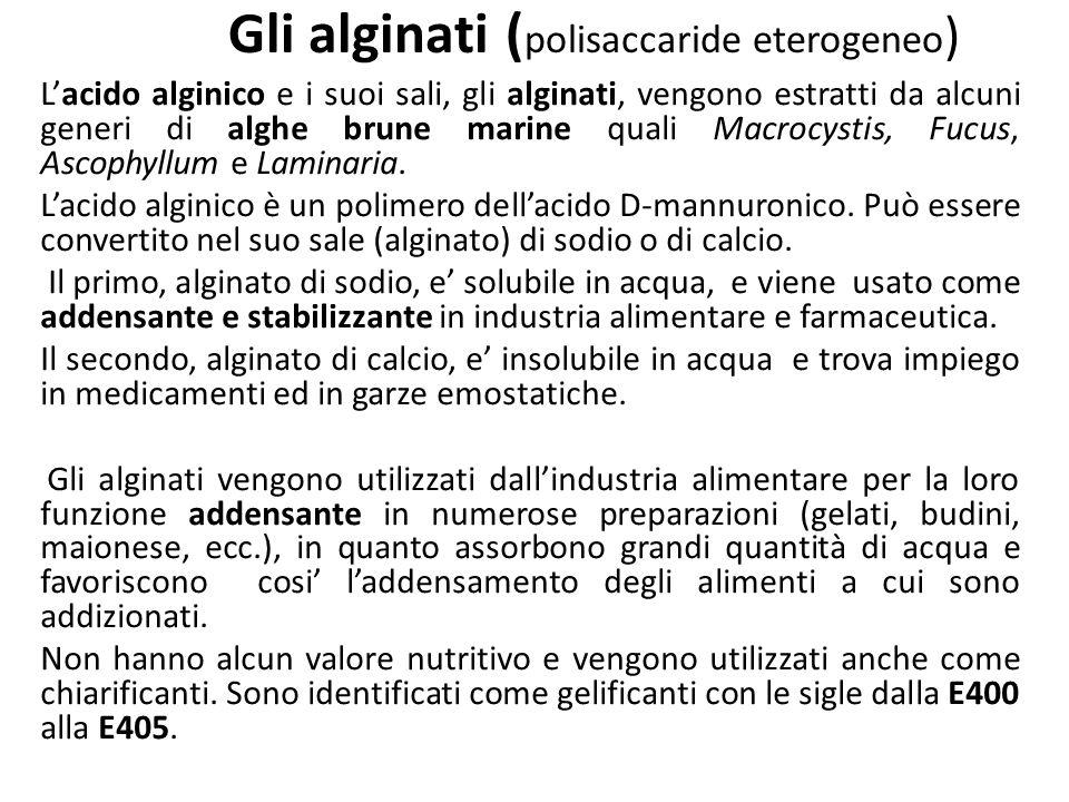 Gli alginati ( polisaccaride eterogeneo ) Lacido alginico e i suoi sali, gli alginati, vengono estratti da alcuni generi di alghe brune marine quali M
