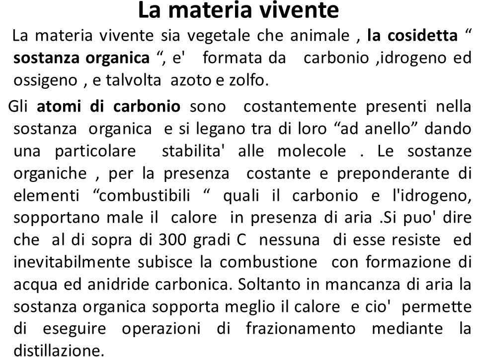 La materia vivente La materia vivente sia vegetale che animale, la cosidetta sostanza organica, e' formata da carbonio,idrogeno ed ossigeno, e talvolt