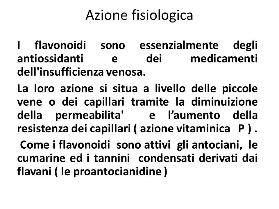 Azione fisiologica I flavonoidi sono essenzialmente degli antiossidanti e dei medicamenti dell'insufficienza venosa. La loro azione si situa a livello