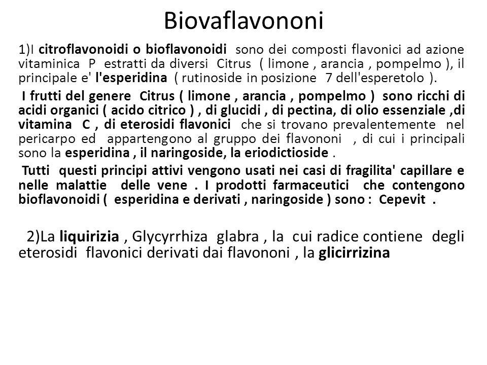 Biovaflavononi 1)I citroflavonoidi o bioflavonoidi sono dei composti flavonici ad azione vitaminica P estratti da diversi Citrus ( limone, arancia, po