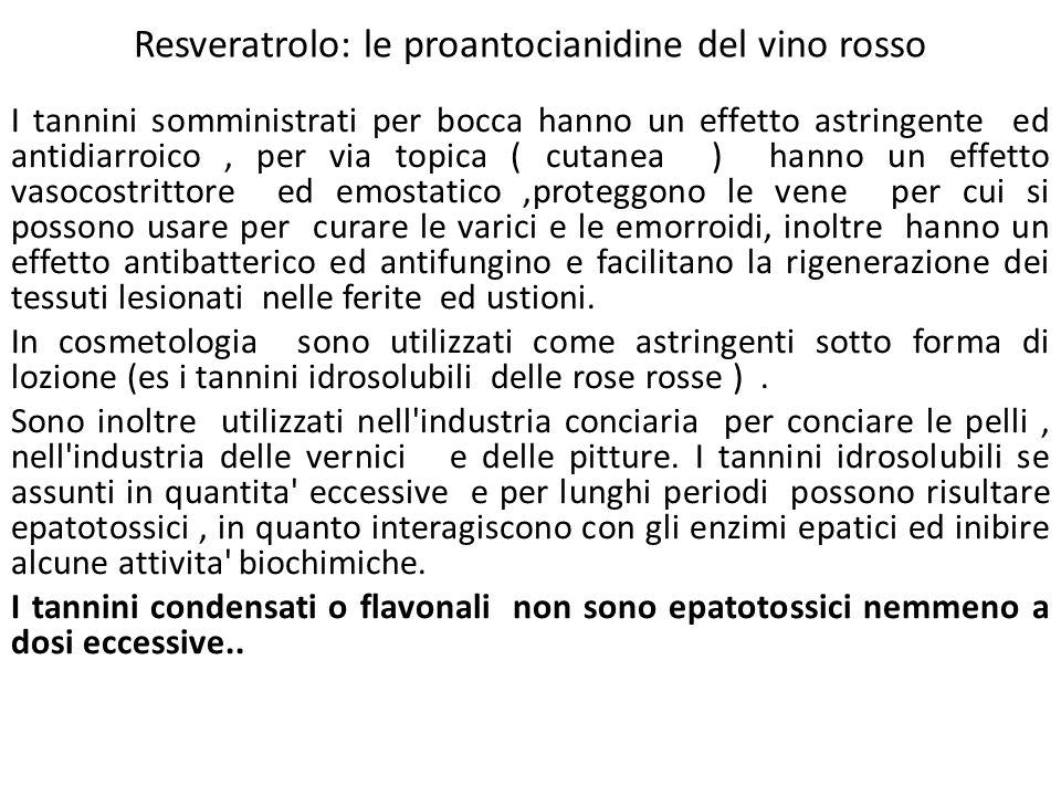 Resveratrolo: le proantocianidine del vino rosso I tannini somministrati per bocca hanno un effetto astringente ed antidiarroico, per via topica ( cut