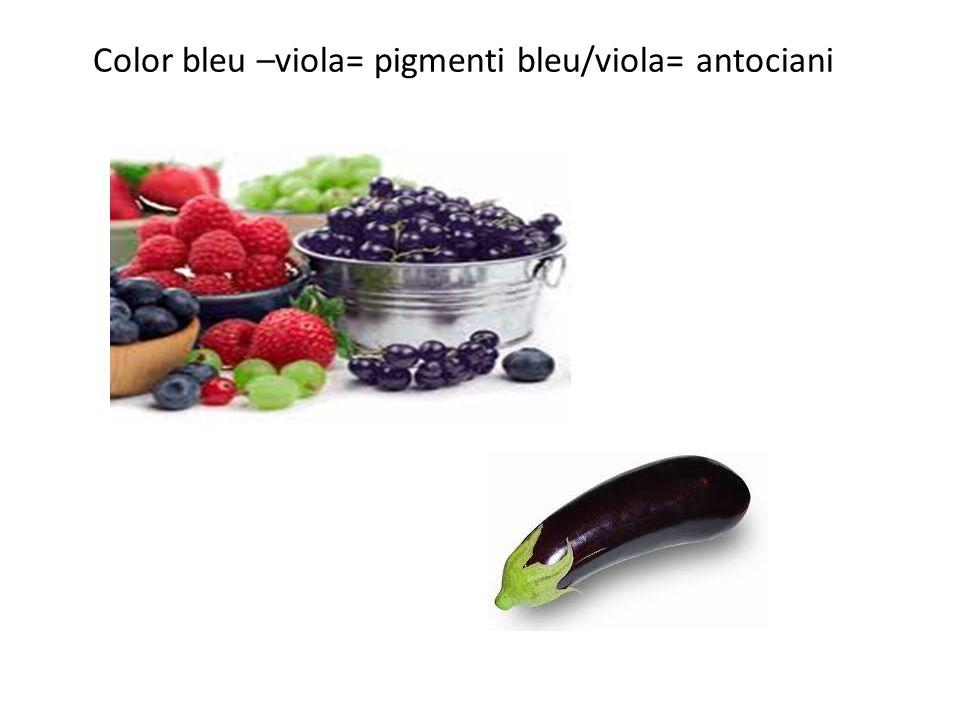 Color bleu –viola= pigmenti bleu/viola= antociani