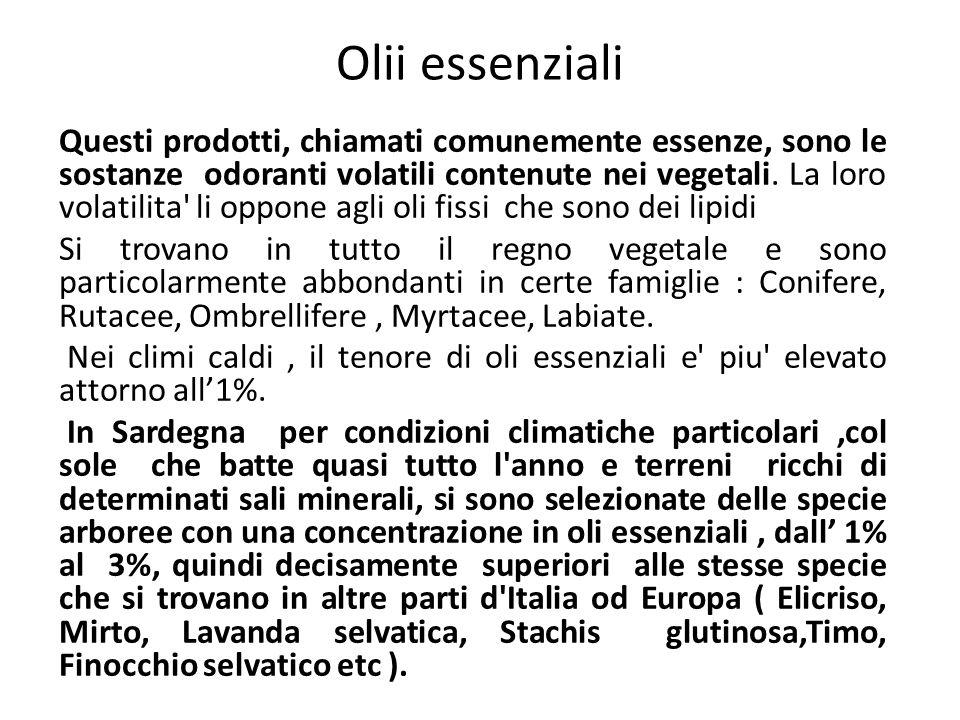 Olii essenziali Questi prodotti, chiamati comunemente essenze, sono le sostanze odoranti volatili contenute nei vegetali. La loro volatilita' li oppon