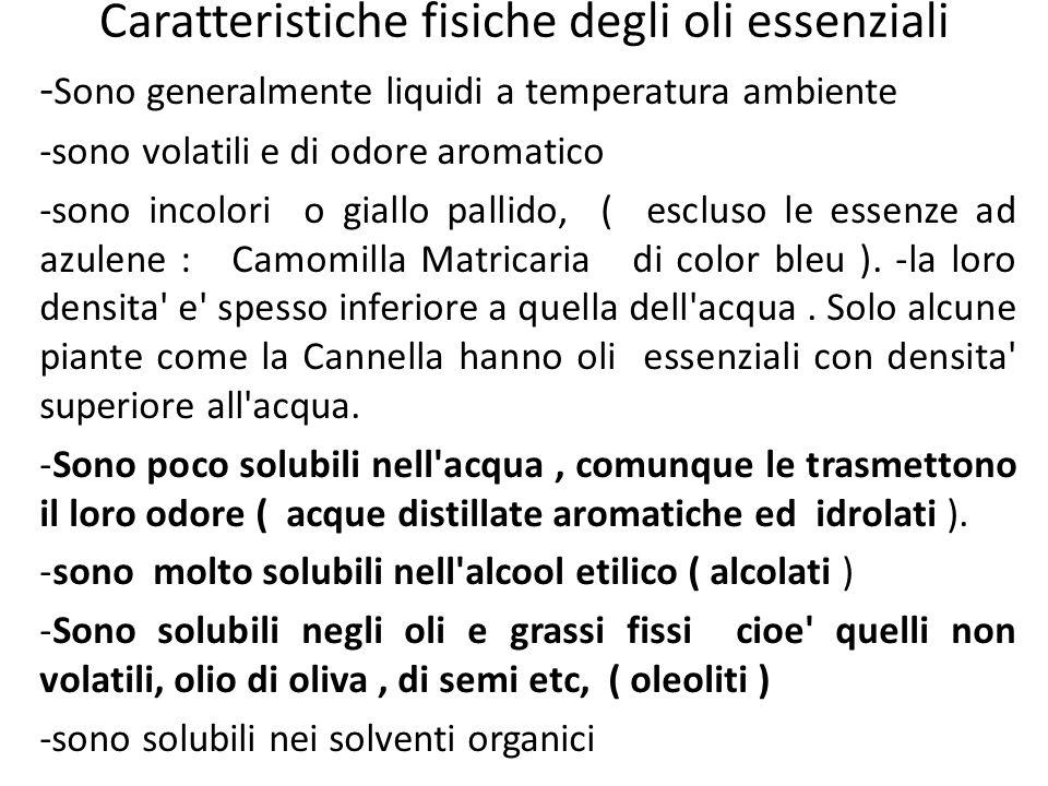 Caratteristiche fisiche degli oli essenziali - Sono generalmente liquidi a temperatura ambiente -sono volatili e di odore aromatico -sono incolori o g