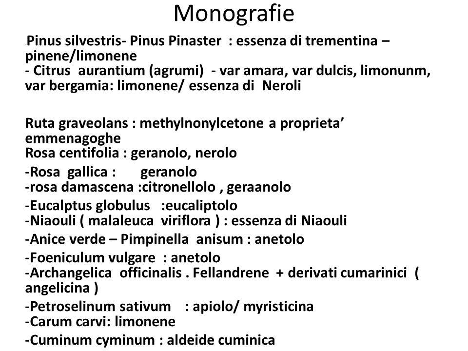 Monografie - Pinus silvestris- Pinus Pinaster : essenza di trementina – pinene/limonene - Citrus aurantium (agrumi) - var amara, var dulcis, limonunm,