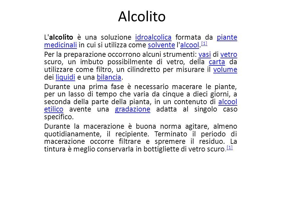 Alcolito L'alcolito è una soluzione idroalcolica formata da piante medicinali in cui si utilizza come solvente l'alcool. [1]idroalcolicapiante medicin