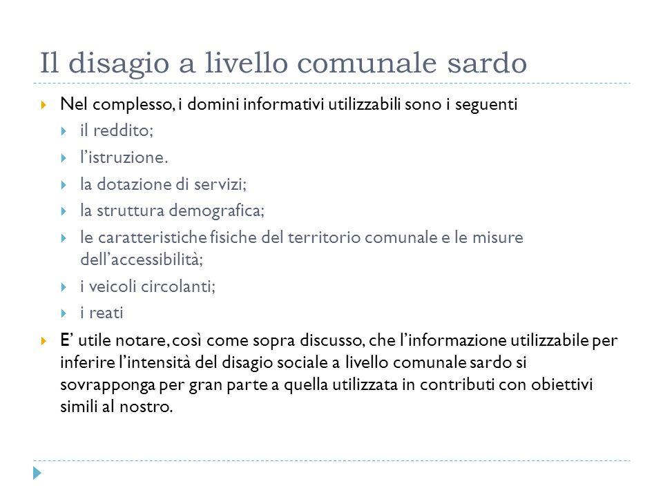 Il disagio a livello comunale sardo Nel complesso, i domini informativi utilizzabili sono i seguenti il reddito; listruzione. la dotazione di servizi;