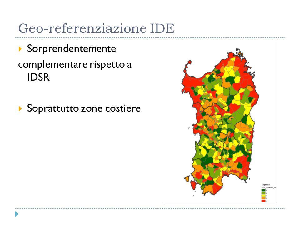 Geo-referenziazione IDE Sorprendentemente complementare rispetto a IDSR Soprattutto zone costiere