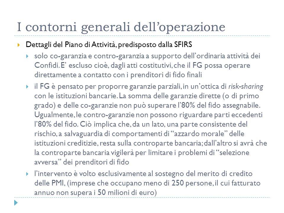 I contorni generali delloperazione Dettagli del Piano di Attività, predisposto dalla SFIRS solo co-garanzia e contro-garanzia a supporto dellordinaria