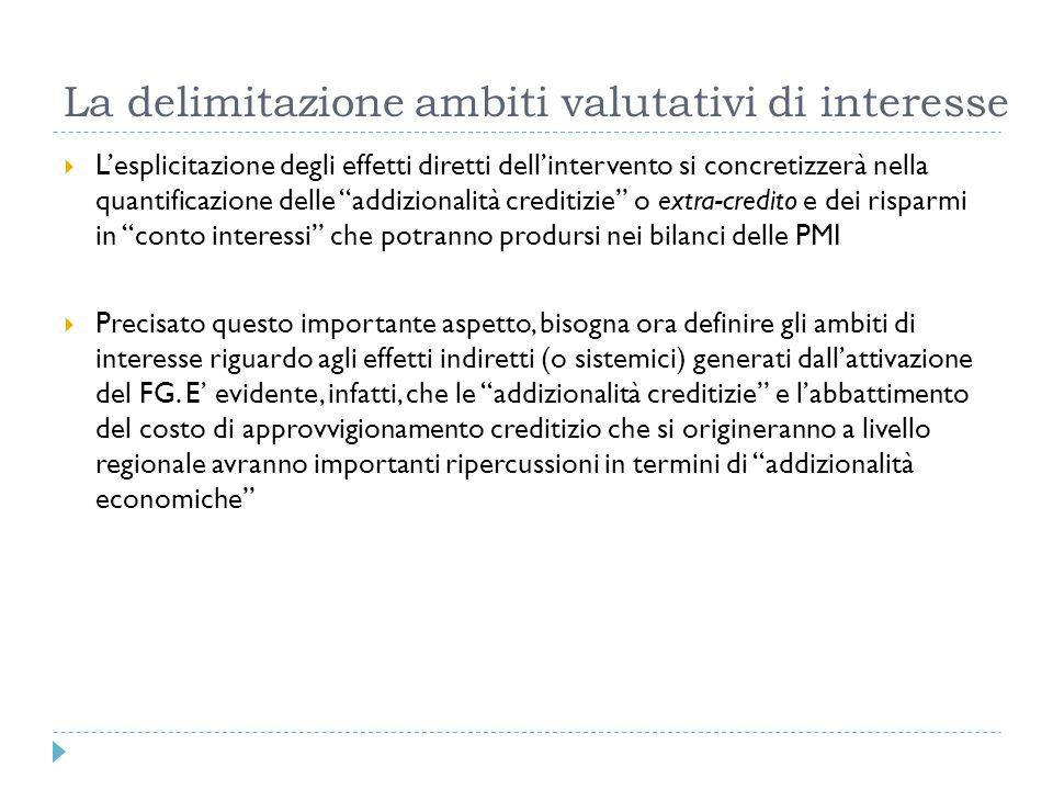 La delimitazione ambiti valutativi di interesse Lesplicitazione degli effetti diretti dellintervento si concretizzerà nella quantificazione delle addi