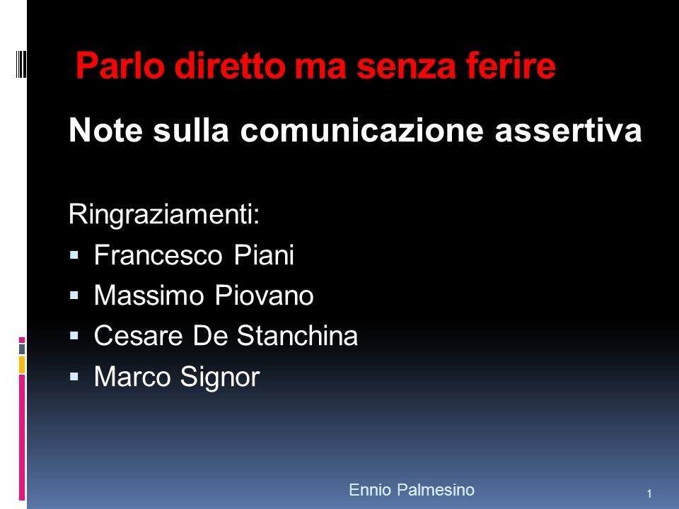 Parlo diretto ma senza ferire Note sulla comunicazione assertiva Ringraziamenti: Francesco Piani Massimo Piovano Cesare De Stanchina Marco Signor Ennio Palmesino 1