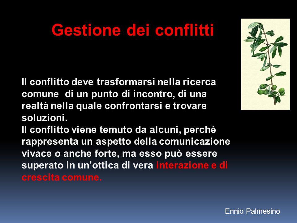 Gestione dei conflitti Il conflitto deve trasformarsi nella ricerca comune di un punto di incontro, di una realtà nella quale confrontarsi e trovare soluzioni.
