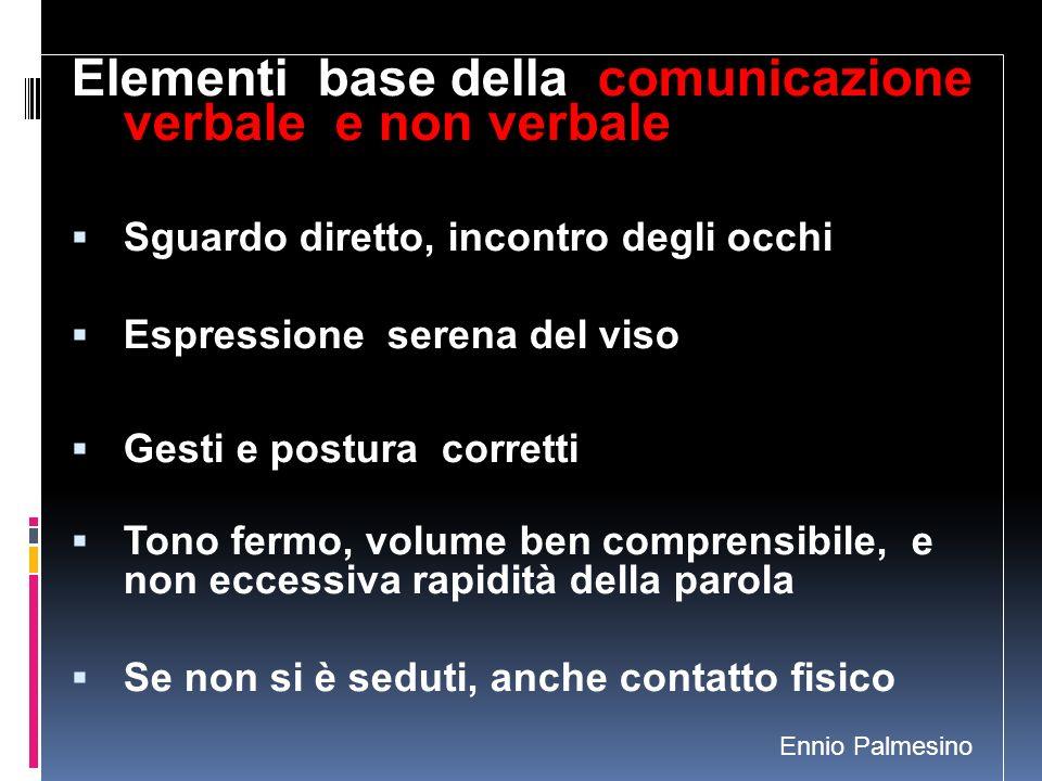 Elementi base della comunicazione verbale e non verbale Sguardo diretto, incontro degli occhi Espressione serena del viso Gesti e postura corretti Ton