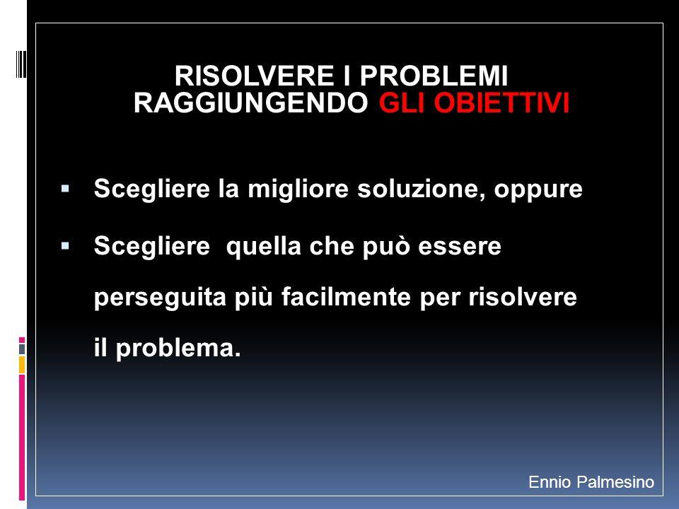 RISOLVERE I PROBLEMI RAGGIUNGENDO GLI OBIETTIVI Scegliere la migliore soluzione, oppure Scegliere quella che può essere perseguita più facilmente per risolvere il problema.