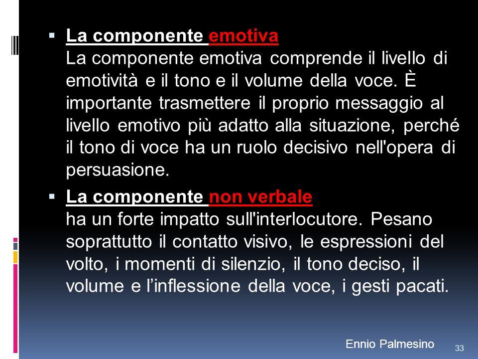 La componente emotiva La componente emotiva comprende il livello di emotività e il tono e il volume della voce. È importante trasmettere il proprio me