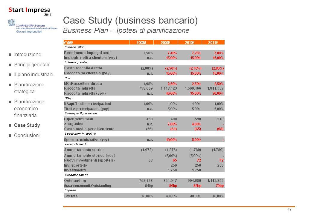 19 2011 Case Study (business bancario) Business Plan – Ipotesi di pianificazione Introduzione Principi generali Il piano industriale Pianificazione st