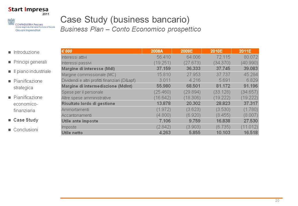 20 2011 Case Study (business bancario) Business Plan – Conto Economico prospettico Introduzione Principi generali Il piano industriale Pianificazione