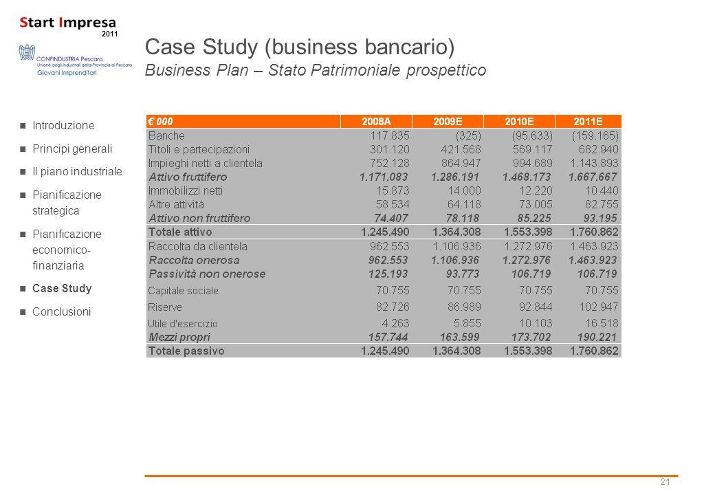 21 2011 Case Study (business bancario) Business Plan – Stato Patrimoniale prospettico Introduzione Principi generali Il piano industriale Pianificazio