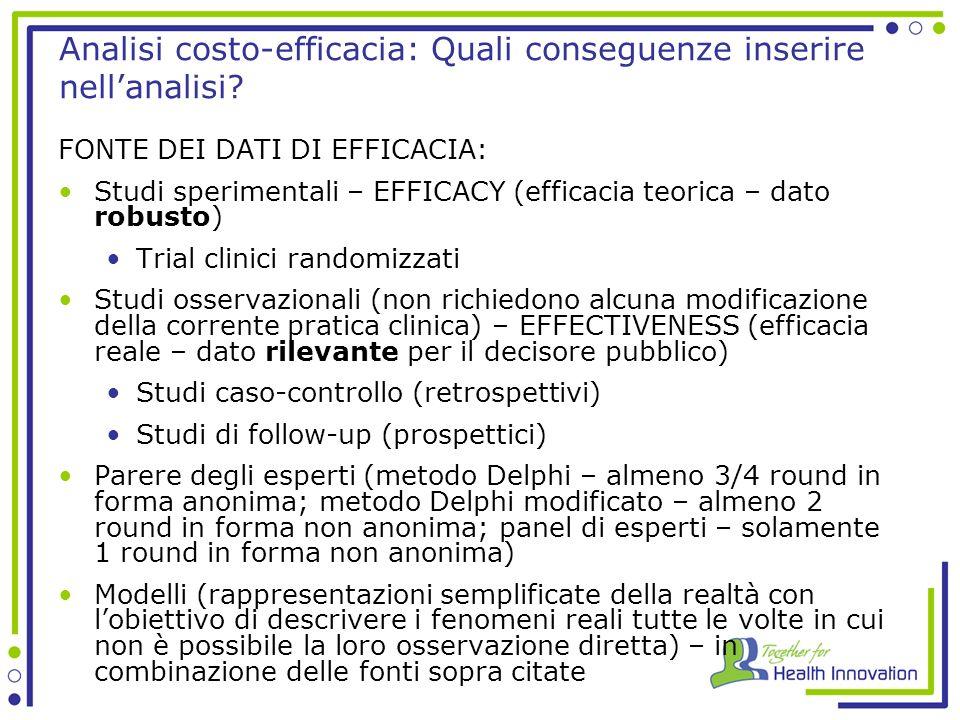 Analisi costo-efficacia: Quali conseguenze inserire nellanalisi.