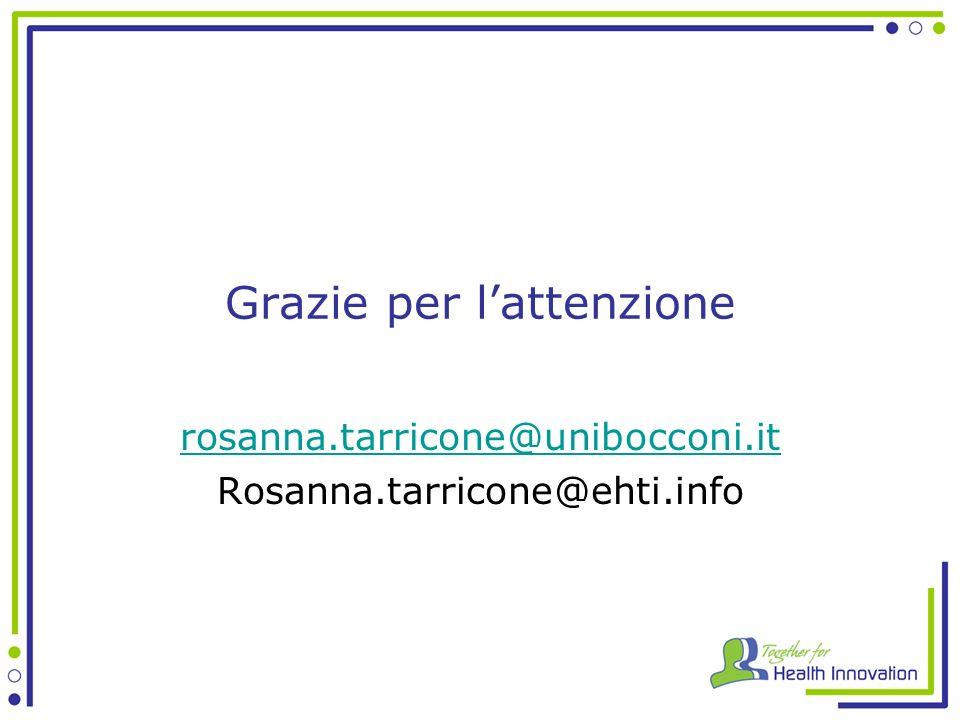 Grazie per lattenzione rosanna.tarricone@unibocconi.it Rosanna.tarricone@ehti.info