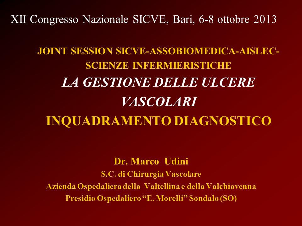 JOINT SESSION SICVE-ASSOBIOMEDICA-AISLEC- SCIENZE INFERMIERISTICHE LA GESTIONE DELLE ULCERE VASCOLARI INQUADRAMENTO DIAGNOSTICO Dr. Marco Udini S.C. d