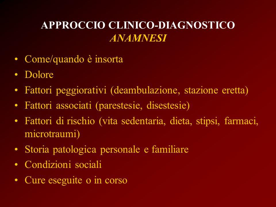APPROCCIO CLINICO-DIAGNOSTICO ANAMNESI Come/quando è insorta Dolore Fattori peggiorativi (deambulazione, stazione eretta) Fattori associati (parestesi