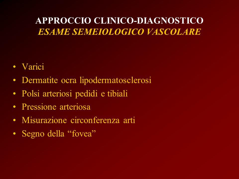 APPROCCIO CLINICO-DIAGNOSTICO ESAME SEMEIOLOGICO VASCOLARE Varici Dermatite ocra lipodermatosclerosi Polsi arteriosi pedidi e tibiali Pressione arteri