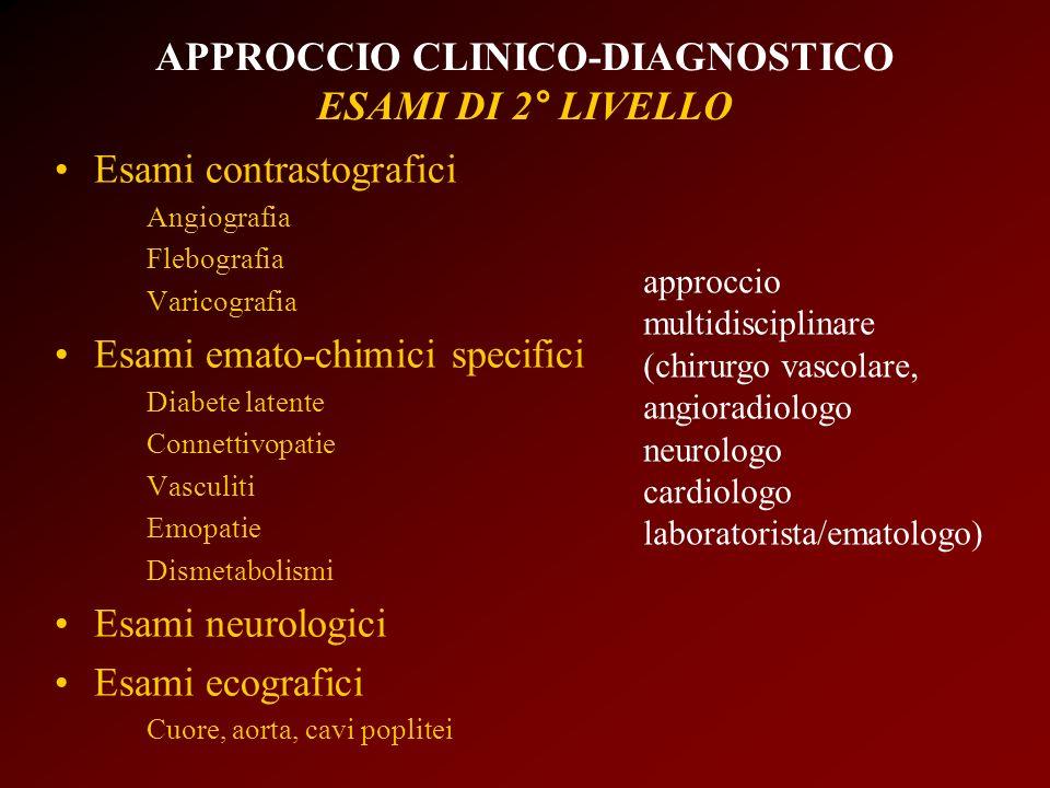 APPROCCIO CLINICO-DIAGNOSTICO ESAMI DI 2° LIVELLO Esami contrastografici Angiografia Flebografia Varicografia Esami emato-chimici specifici Diabete la
