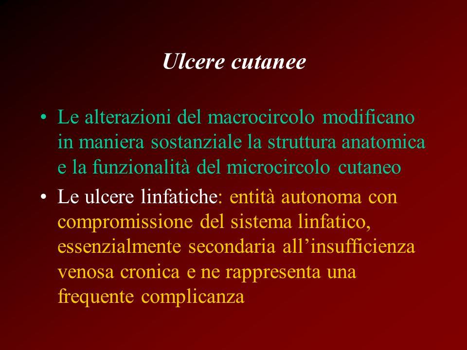 Ulcere cutanee Le alterazioni del macrocircolo modificano in maniera sostanziale la struttura anatomica e la funzionalità del microcircolo cutaneo Le