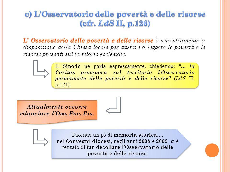 Il Sinodo ne parla espressamente, chiedendo : … la Caritas promuova sul territorio lOsservatorio permanente delle povertà e delle risorse ( LdS II, p.