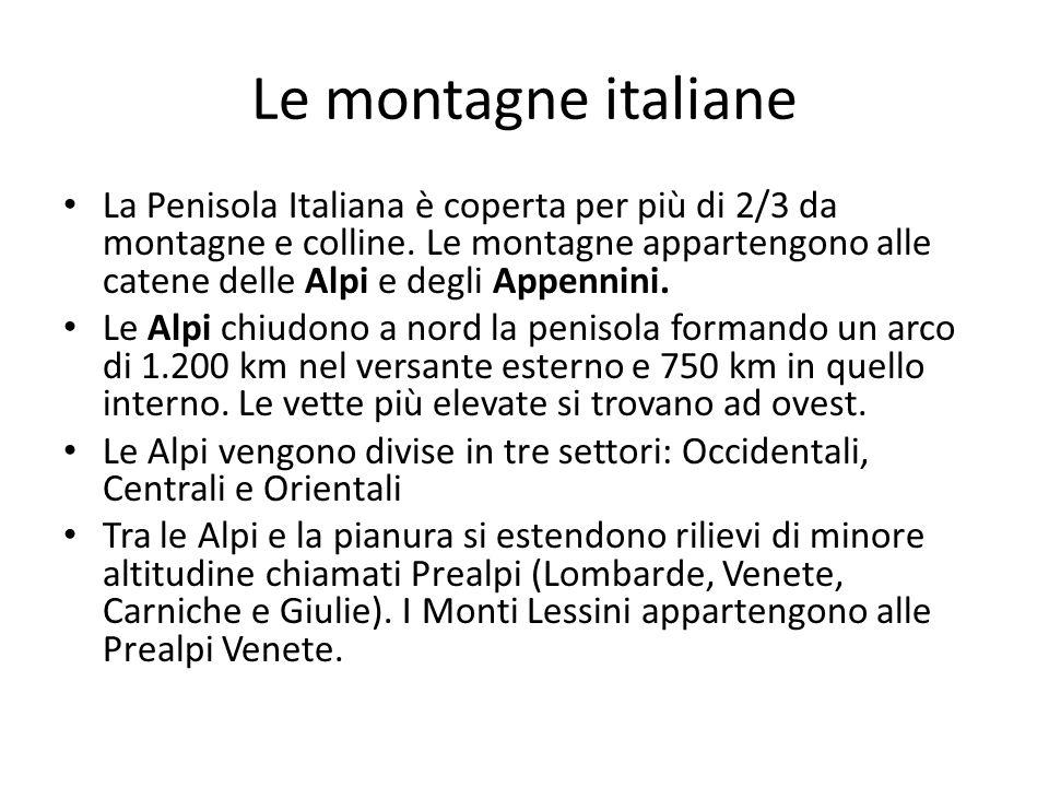 Le montagne italiane La Penisola Italiana è coperta per più di 2/3 da montagne e colline. Le montagne appartengono alle catene delle Alpi e degli Appe