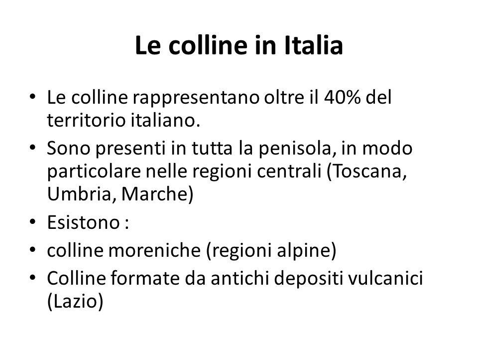 Le colline in Italia Le colline rappresentano oltre il 40% del territorio italiano. Sono presenti in tutta la penisola, in modo particolare nelle regi