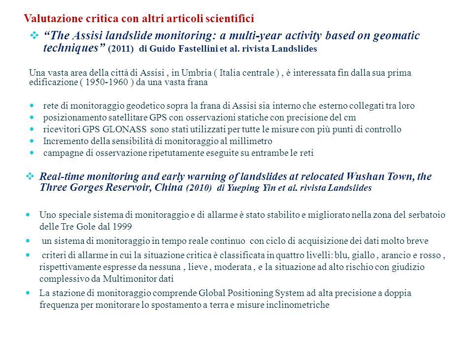 The Assisi landslide monitoring: a multi-year activity based on geomatic techniques (2011) di Guido Fastellini et al. rivista Landslides Una vasta are