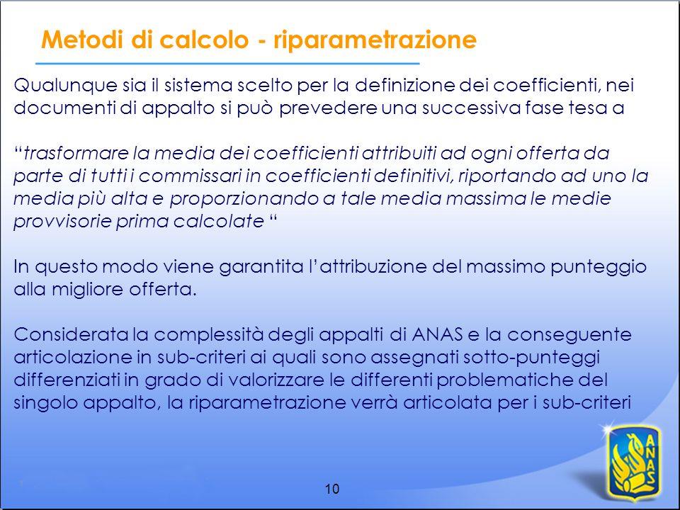 10 Metodi di calcolo - riparametrazione Qualunque sia il sistema scelto per la definizione dei coefficienti, nei documenti di appalto si può prevedere