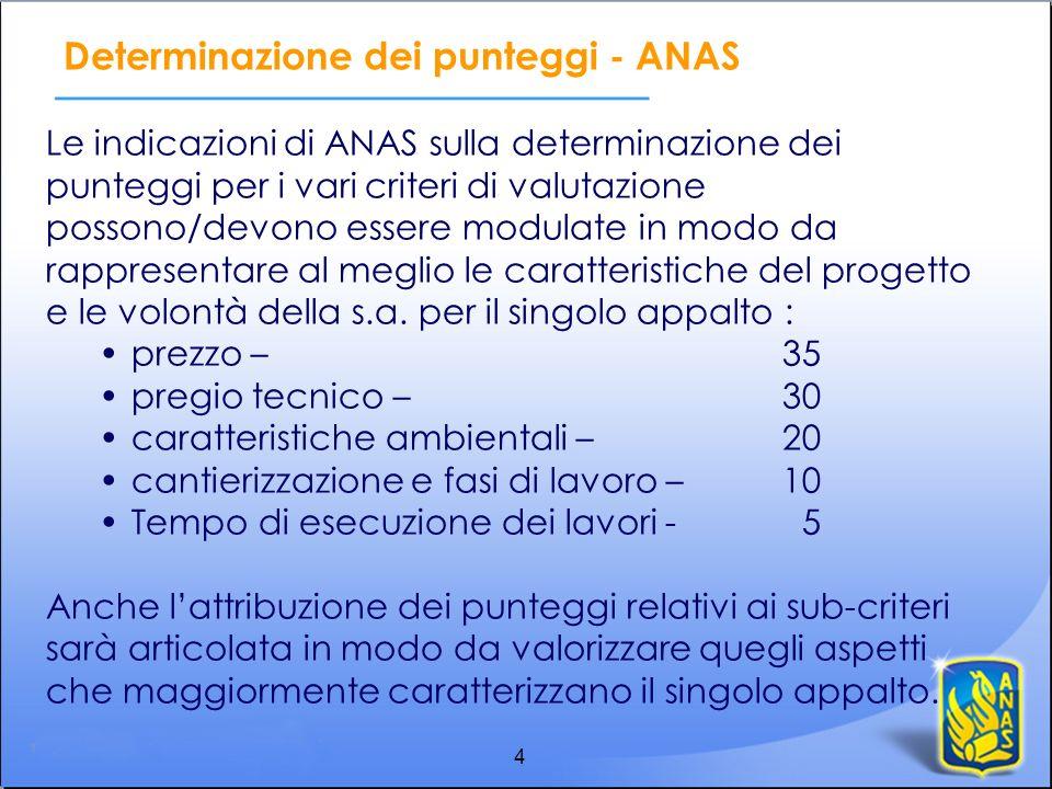 4 Determinazione dei punteggi - ANAS Le indicazioni di ANAS sulla determinazione dei punteggi per i vari criteri di valutazione possono/devono essere
