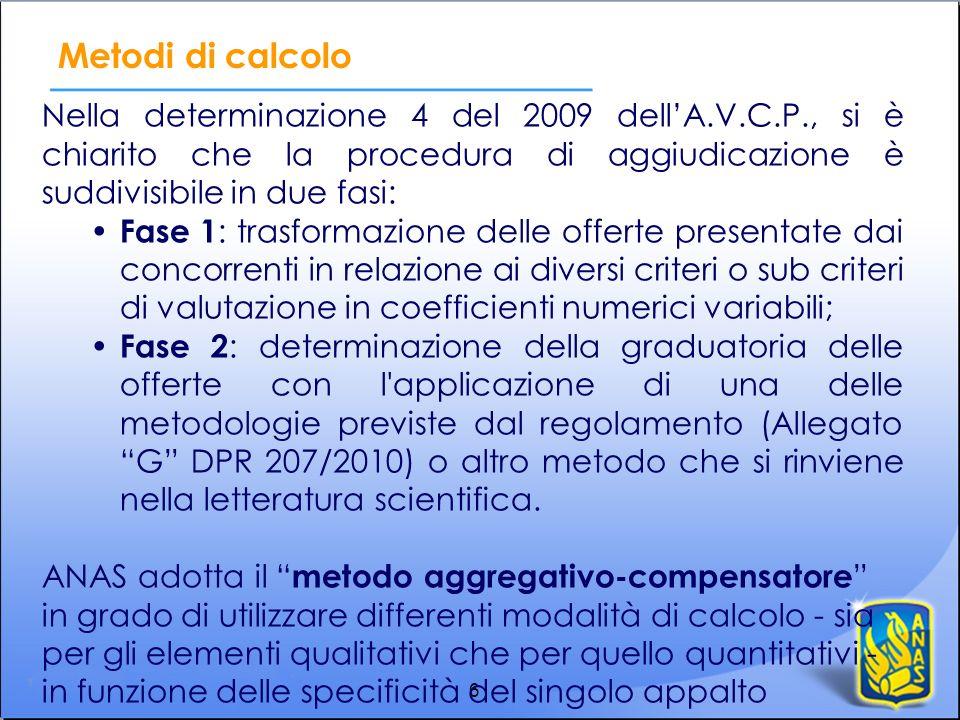 Metodi di calcolo 6 Nella determinazione 4 del 2009 dellA.V.C.P., si è chiarito che la procedura di aggiudicazione è suddivisibile in due fasi: Fase 1