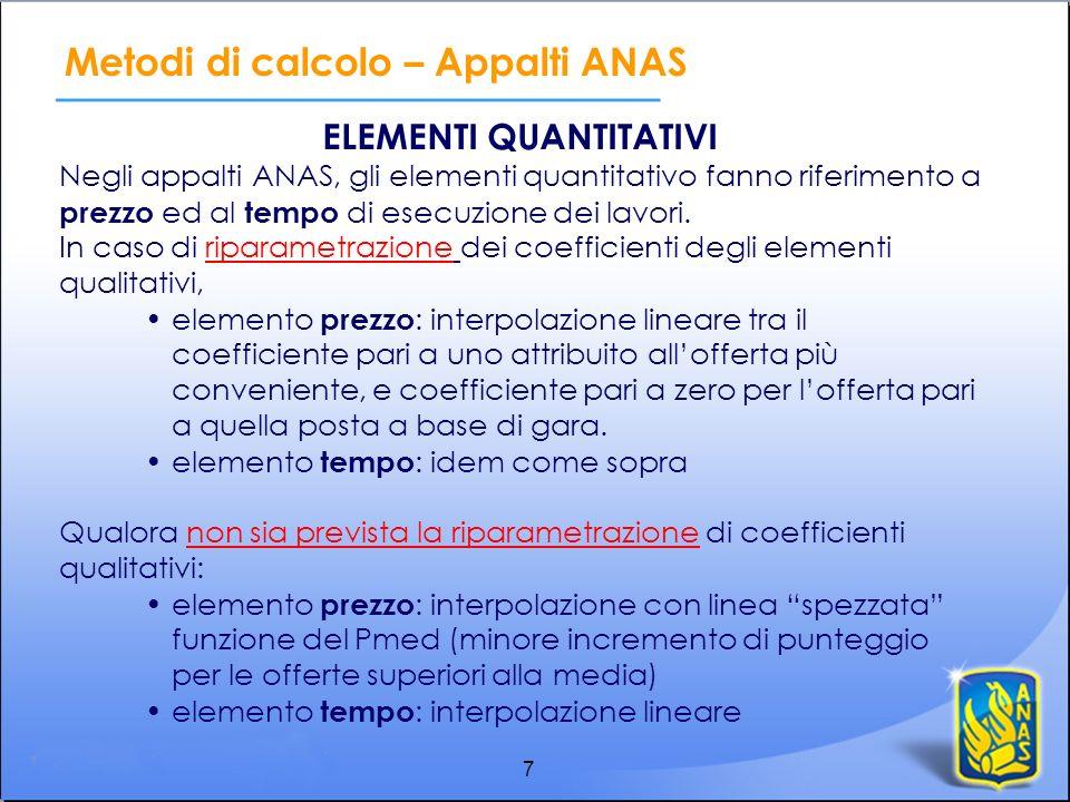 7 ELEMENTI QUANTITATIVI Negli appalti ANAS, gli elementi quantitativo fanno riferimento a prezzo ed al tempo di esecuzione dei lavori. In caso di ripa