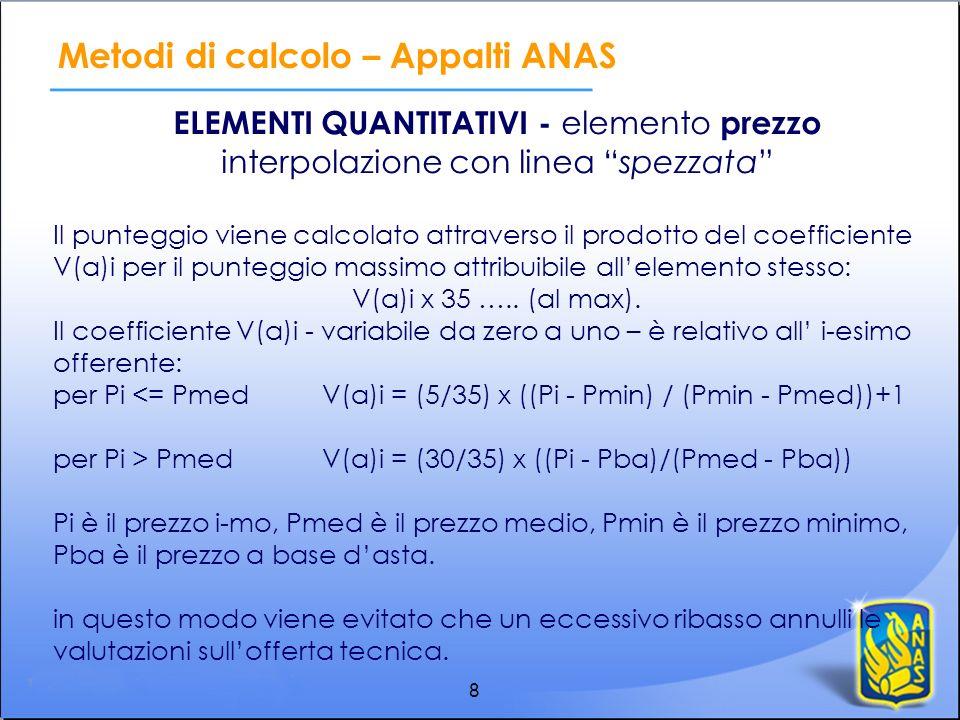 8 ELEMENTI QUANTITATIVI - elemento prezzo interpolazione con linea spezzata Il punteggio viene calcolato attraverso il prodotto del coefficiente V(a)i