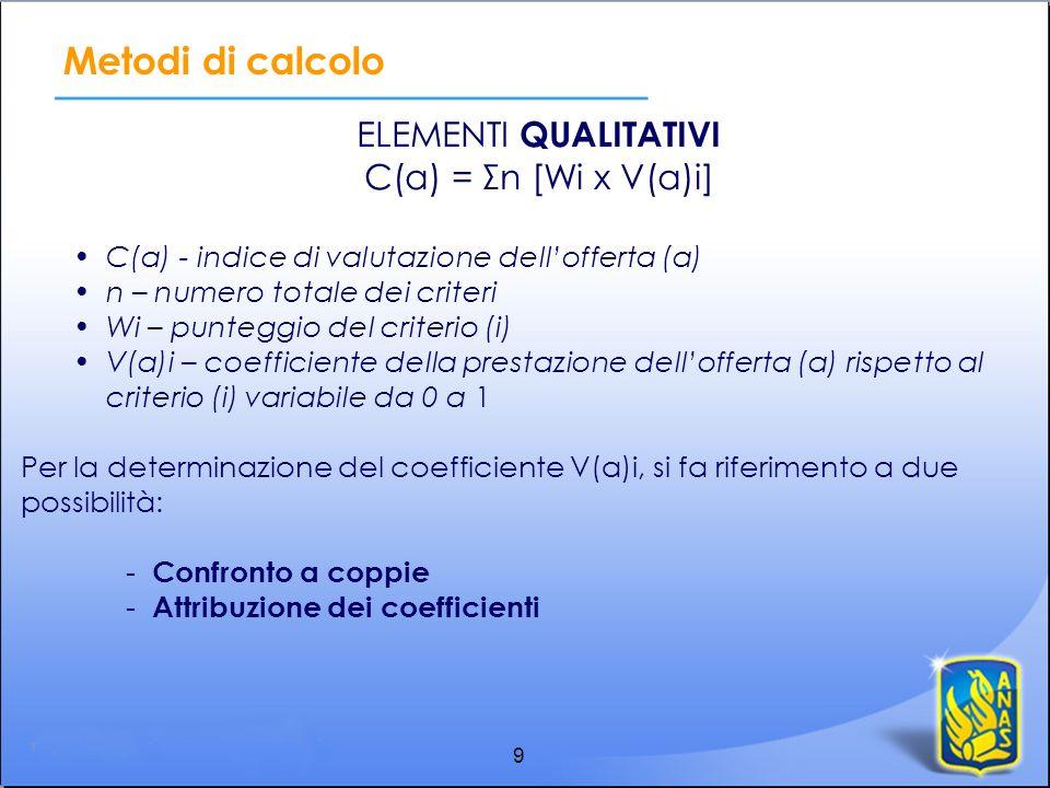 9 Metodi di calcolo ELEMENTI QUALITATIVI C(a) = Σn [Wi x V(a)i] C(a) - indice di valutazione dellofferta (a) n – numero totale dei criteri Wi – punteg