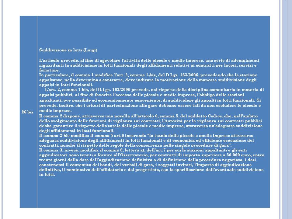 26 bis Suddivisione in lotti (Luigi) Larticolo prevede, al fine di agevolare lattività delle piccole e medie imprese, una serie di adempimenti riguard