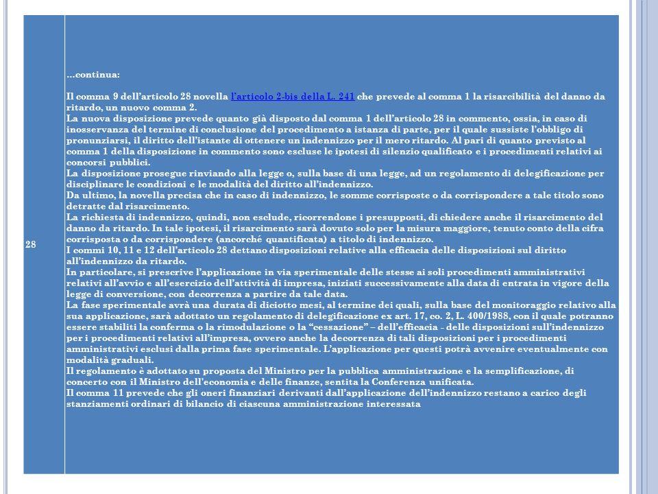 28 …continua: Il comma 9 dellarticolo 28 novella larticolo 2-bis della L. 241 che prevede al comma 1 la risarcibilità del danno da ritardo, un nuovo c