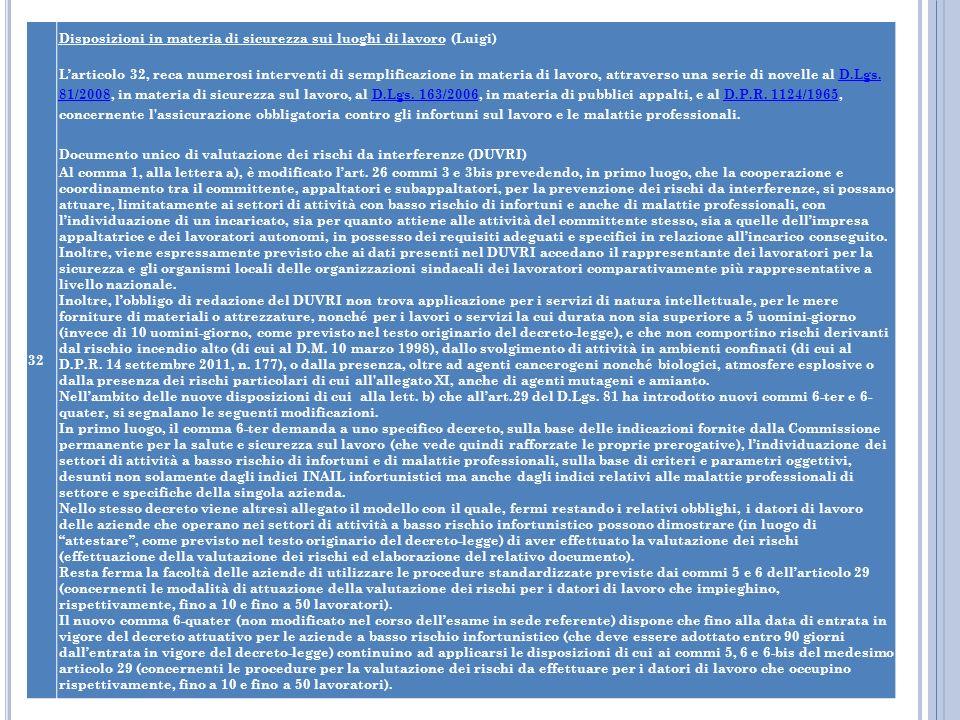 32 Disposizioni in materia di sicurezza sui luoghi di lavoro (Luigi) Larticolo 32, reca numerosi interventi di semplificazione in materia di lavoro, a